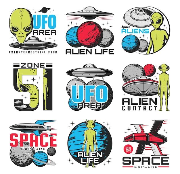 Ícones retrô de alienígenas, área de ovnis e ônibus espaciais