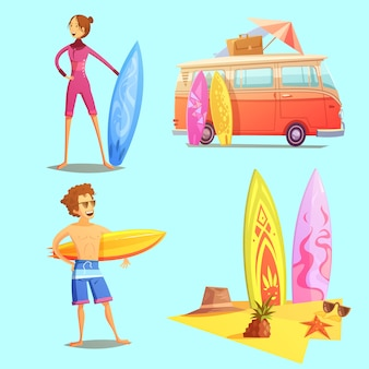 Ícones retrô dos desenhos animados de surf