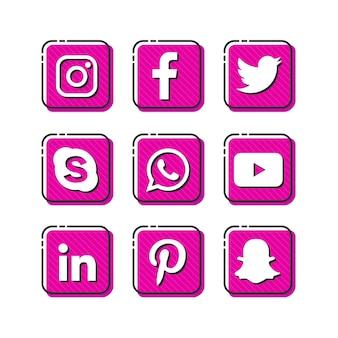Ícones rosa de mídia social