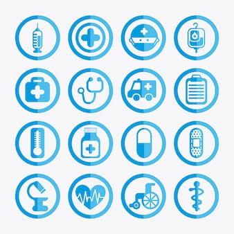Ícones saudáveis sobre ilustração vetorial de fundo branco