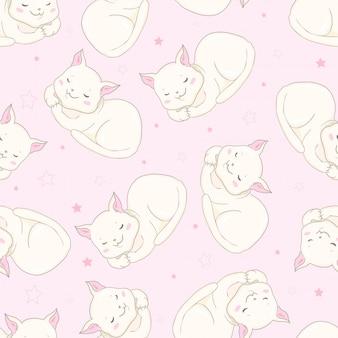 Ícones sem emenda do animal de estimação de gatos bonitos
