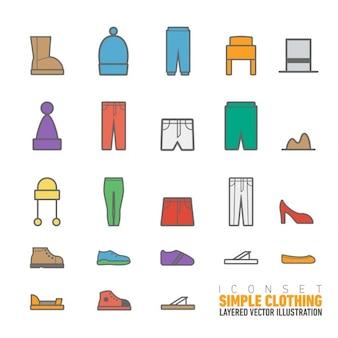 Ícones simples da roupa embalar