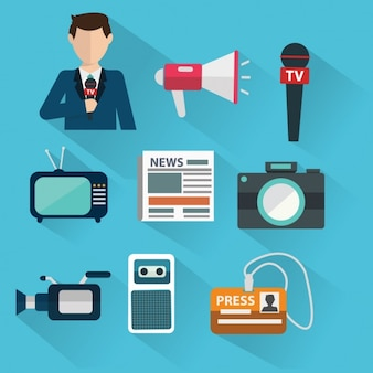 Ícones sobre jornalismo
