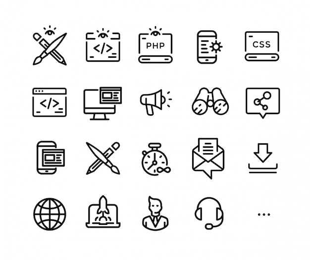 Ícones sobre o tema da tecnologia de ti.