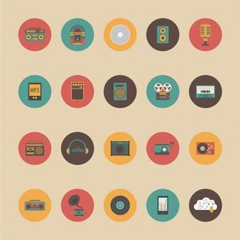 Ícones sobre objetos retro