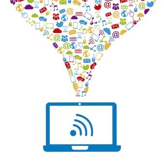 Ícones sociais com laptop sobre fundo branco