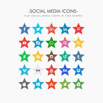 Ícones sociais dos media coleção em forma de estrela