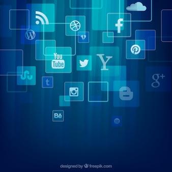 Ícones sociais dos media fundo