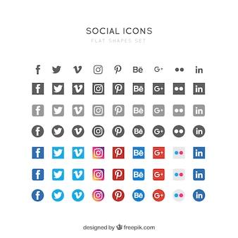Ícones sociais planas