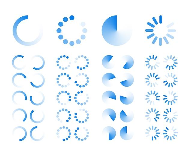 Ícones transparentes de indicadores de progresso