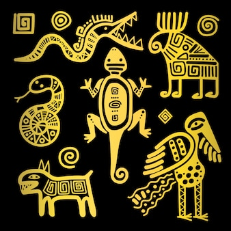 Ícones tribais dourados de cultura mexicana