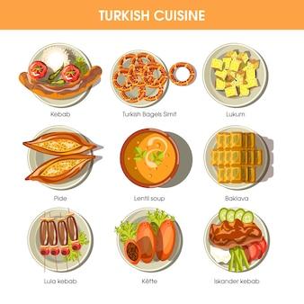 Ícones turcos do vetor da culinária da comida para o menu do restaurante.