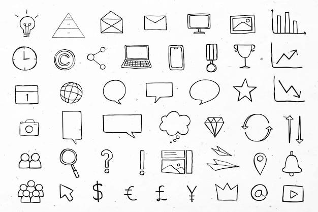 Ícones úteis de negócios para marketing de coleção preta