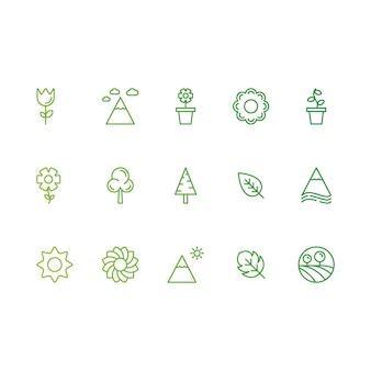 Ícones verdes da natureza