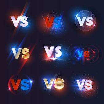 Ícones versus ou vs do jogo de esporte