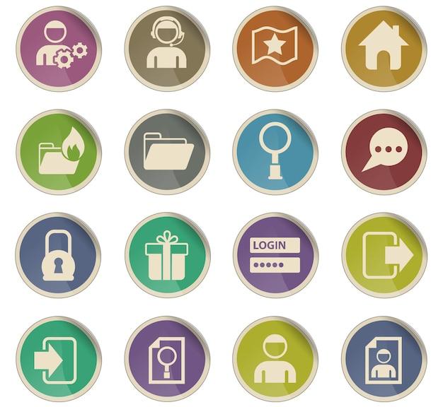 Ícones vetoriais da interface do fórum na forma de etiquetas redondas de papel