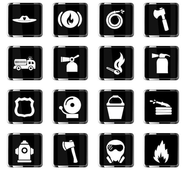 Ícones vetoriais de brigada de incêndio para design de interface de usuário