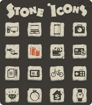 Ícones vetoriais de loja de penhores para web e design de interface de usuário