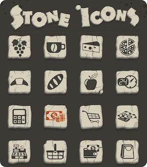 Ícones vetoriais de mercearia para web e design de interface de usuário