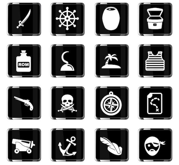 Ícones vetoriais de piratas para design de interface de usuário