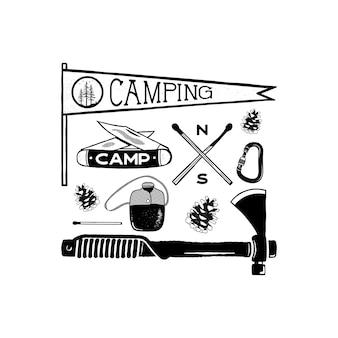 Ícones vintage aventura de acampamento desenhados à mão