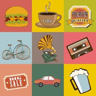 Ícones vintage sobre ilustração vetorial de fundo vintage