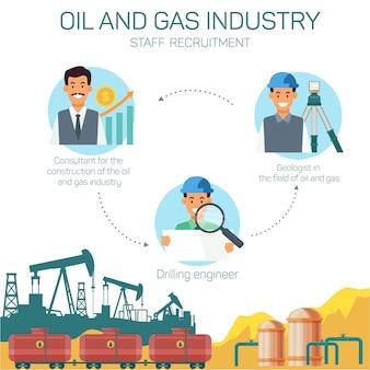 Ícones withtype profissões na indústria de petróleo e gás