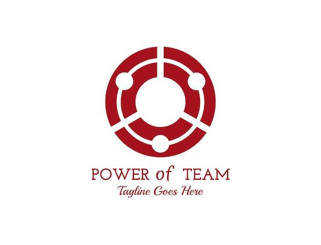 Icônico de três pessoas formando um círculo para o logotipo coeso da equipe