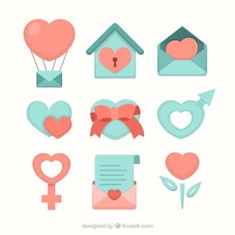 Icons set coração, perfeito para o casamento e dia dos namorados design do dia