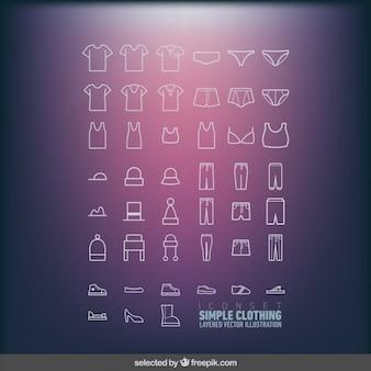 Icons set de roupas simples
