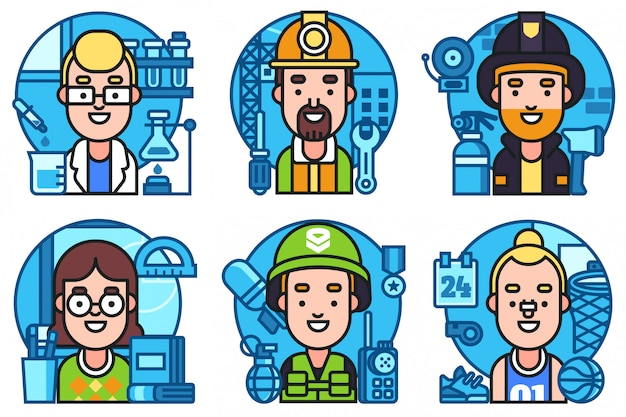 Icons set workers profession collection