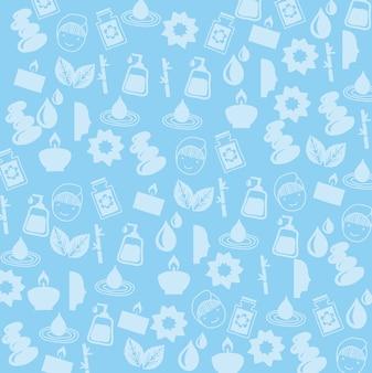 Icosn spa sobre ilustração vetorial de fundo azul