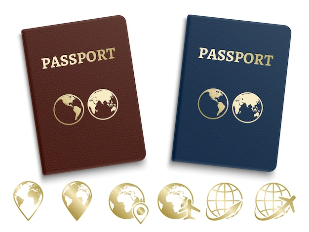 Id internacional de passaportes e navegação dourada e ícones de viagens