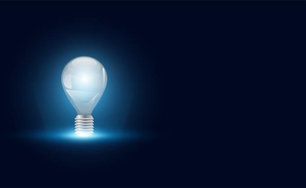 Ideia abstrata com lâmpada no espaço da cópia