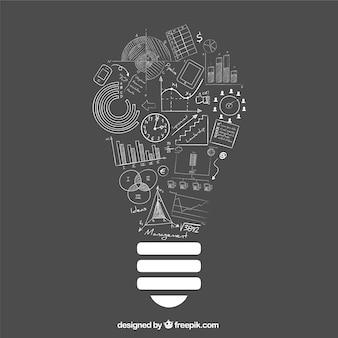 Idéia ampola com ícones do negócio do doodle
