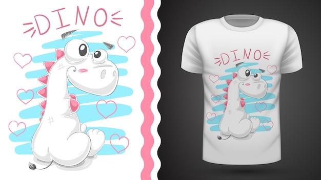 Ideia bonito do dinossauro da peluche para o t-shirt