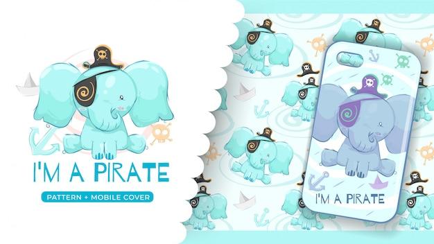 Ideia bonito do elefante do pirata para a caixa e o teste padrão do telefone da cópia