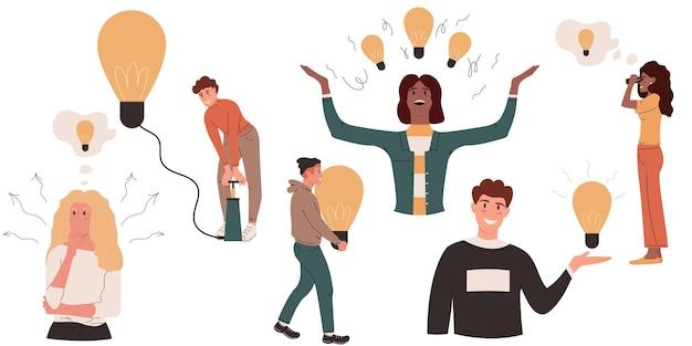 Ideia criativa, cérebro, instinto, problema, solução, desenvolvimento, decisão, pessoas, com, lâmpadas