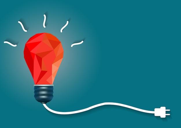 Idéia criativa com lâmpada vermelha sobre fundo azul