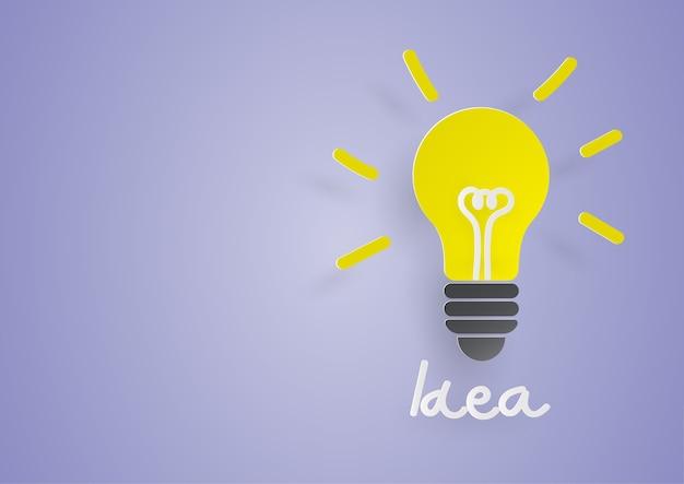 Idéia criativa. conceito de ideia e inovação com lâmpada de papel sobre fundo azul.