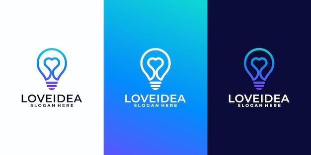 Ideia criativa de amor com lâmpada de bulbo e design de logotipo de coração