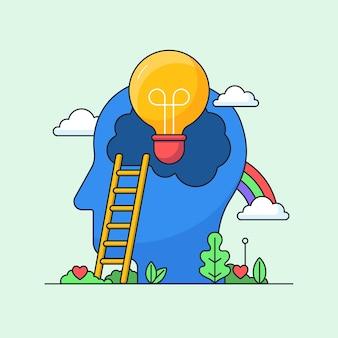 Ideia criativa de brainstorming com imaginação total design de conceito visual cabeça de lâmpada com arco-íris