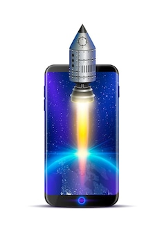 Ideia criativa de foguete de telefone, tecnologia de objeto. ilustração vetorial