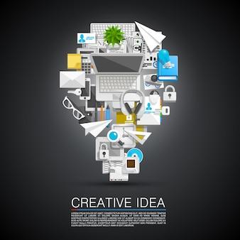 Ideia criativa de ícones de colagem plana. ilustração vetorial