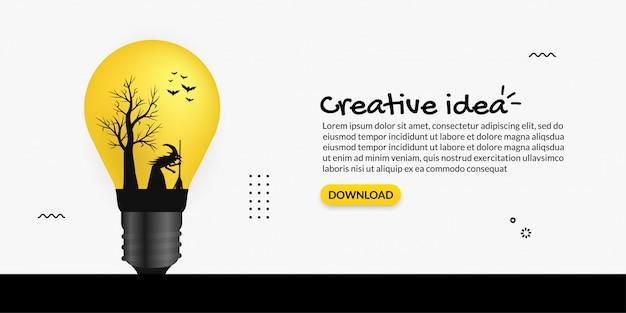 Idéia criativa dentro da lâmpada no fundo branco, pensando o conceito de arte