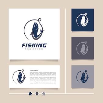 Ideia criativa e design de logotipo de pesca de vetor de conceito moderno simples