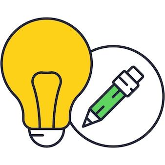 Ideia criativa e ícone plana de vetor de conhecimento. ilustração do símbolo do logotipo do projeto do contorno da lâmpada e do lápis. pictograma de solução de negócios, educação e tecnologia