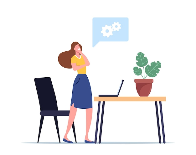 Idéia criativa, ilustração eureka. personagem de mulher de negócios em busca de ideias para o desenvolvimento de projetos