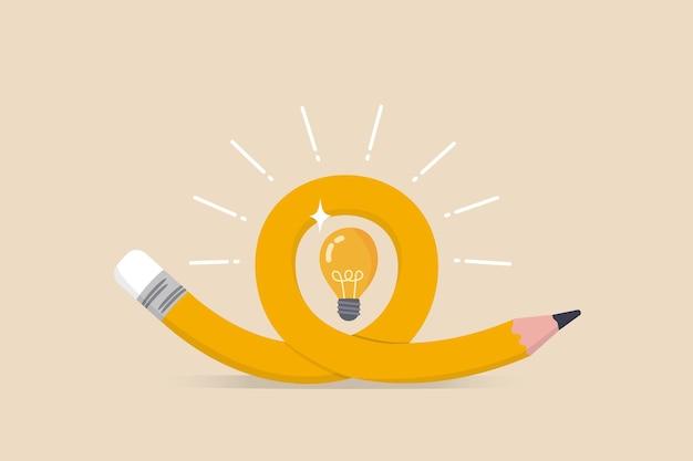 Ideia criativa, imaginação, habilidade de escrita ou conceito de aprendizagem e educação, dobrando o lápis com ideia de lâmpada brilhante.