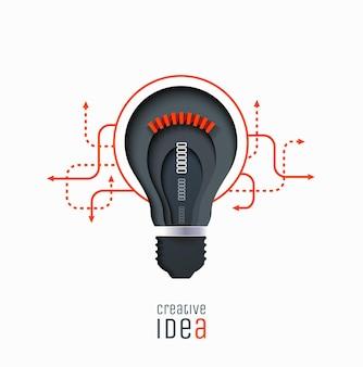 Ideia criativa invenção inspiração inovação solução lâmpada de corte de papel